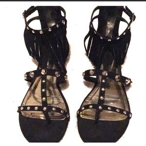 Jlo black studded sandals with tassels 🥰